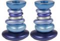 Anodized Aluminum Shabbat Candlestick - Stone Tower Blues (EM-CSG3)