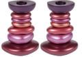 Anodized Aluminum Shabbat Candlestick - Stone Tower Reds (EM-CSG4)
