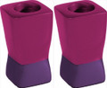 Anodized Aluminum Shabbat Candlesticks Purple / Pink Small (EM-CSD3)