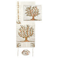 Raw Silk Machine Embroidered Tallit Tree of Life Brown/Green (EM-TAC1)