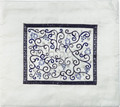 Embroidered Tallit Bag Blue on White (EM-TMD-2)