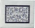 Embroidered Tefillin Bag Blue on White (EM-FMD-2)