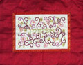 Embroidered Afikomen Bag Pomegranates- White on Red (EM-AMD5)
