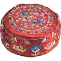 Embroidered Kippah FLOWERS MAROON (EM-HME-3M)