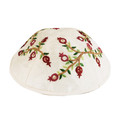 Emanuel Embroidered Kippah Pomegranates White - Red (EM-YME-6W)