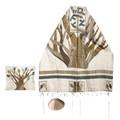 Yair emanuel Embroidered Raw Silk Tallit  - Tree of life TFA-2