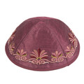 Embroidered Kippah Flowers MAROON (EM-YME-9M)