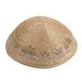 Embroidered Kippah Flowers GOLD (EM-YME-9G)