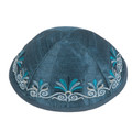 Embroidered Kippah Flowers BLUE (EM-YME-9B)