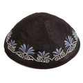 Embroidered Kippah Flowers BLACK (EM-YME-9BL)