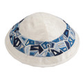 Embroidered Kippah BLUE (EM-YME-10B)