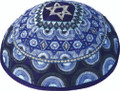 Embroidered Kippah - Magen David Blue (EM-YME-11B)