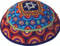 Embroidered Kippah - Magen David Multi-colors (EM-YME-11M)