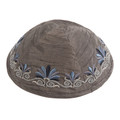 Embroidered Kippah Flowers GREY (EM-YME-9GR)