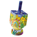 Emanuel Painted Small Dreidel With Stand (Nes Haya PO) (EM-DRS-17A)