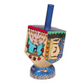 Emanuel Painted Small Dreidel With Stand (Nes Haya PO) (EM-DRS-10A)