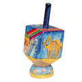 Emanuel Painted Small Dreidel With Stand (Nes Haya PO) (EM-DRS-11A)