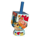 Emanuel Painted Small Dreidel With Stand (Nes Haya PO) (EM-DRS-13A)