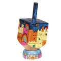 Emanuel Painted Small Dreidel With Stand (Nes Haya PO) (EM-DRS-15A)