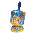 Emanuel Painted Large Dreidel With Stand (Nes Haya PO) (EM-DRL-2A)