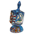 Emanuel Painted Large Dreidel With Stand (Nes Haya PO) (EM-DRL-4A)
