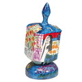 Emanuel Painted Large Dreidel With Stand (Nes Haya PO) (EM-DRL-6A)