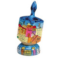 Emanuel Painted Large Dreidel With Stand (Nes Haya PO) (EM-DRL-9A)