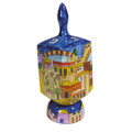 Emanuel Painted Extra Large Dreidel With Stand (EM-DXL-1)