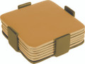 Set of 6 Aluminum Coasters Gold (EM-COM-3)