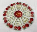 "Glass Rosh Hashana ""Simanim"" Plate- Pomegranates (HD-59047)"