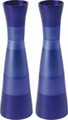 EM-CML1 Anodized Aluminum Long Shabbat Candlesticks - Blue