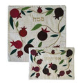 Raw Silk Matzah Cover- Pomegranates White (EM-MAS35)