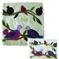 Raw Silk Matzah Cover -Birds Silver (EM-MAS38)