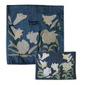 Raw Silk Matzah Cover -Lily Blue (EM-MAS40)