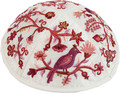 Emanuel Embroidered Kippah Bird-Flowers Pink (EM-YME12P)