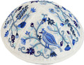Emanuel Embroidered Kippah Bird-Flowers Blue (EM-YME12B)