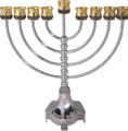 "Classic Jerusalem Menorah-- Gold & Silverplate 11"" (M-9815-M)"