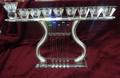 "Harp Shaped Crystal Menorah-- 11"" (M-11332)"