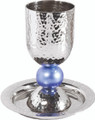 EM-CUB2  Silvered Hammered Kiddush Cup and Plate Blue