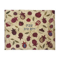 Embroidered Challah cover-Large Pomegranates on Gold Background (EM-CME28)