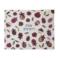 Embroidered Challah Cover-Large Pomegranates on White Background (EM-CME26)