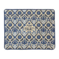 Emanuel Full Embroidered Challah Cover Linen--Blue (EM-CMC24)