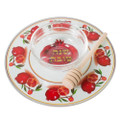 Glass Pomegranate Honey Dish 19cm (HD-43244)