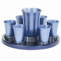 EM-GSS1 Anodized Aluminum Kiddush Set with Tray - Blue
