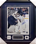 Bernier Signed Fight 11x14 Framed Maple Leafs Buffalo Sabres
