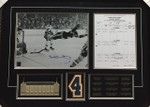 Bobby Orr 'Moment In Time' With Scoresheet Signed Framed 11x14