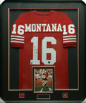 Joe Montana 49ers Red Signed Framed Jersey