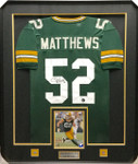 Clay Matthews Green Packers Signed Framed Jersey