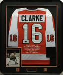 Bobby Clarke Flyers Orange Signed Framed Jersey