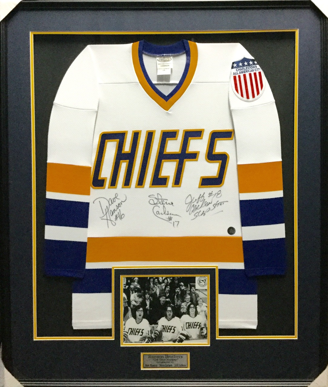 fc53cc506 The Hanson Brothers Signed Chiefs Framed Jersey - PHG Sports Inc Store
